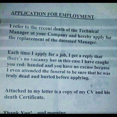 best job application letters ever